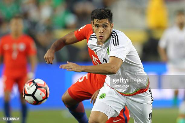Raul Jimenez of Mexico runs after the ball during a Quarterfinal match between Mexico and Chile at Levi's Stadium as part of Copa America Centenario...
