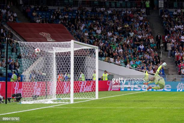 Raul Jimenez of Mexico scores during the FIFA Confederations Cup Russia 2017 group A football match between Mexico and New Zealand at Fisht Olympic...