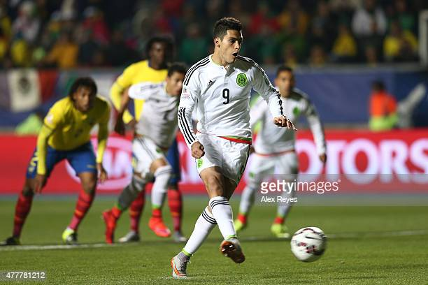 Raul Jimenez of Mexico takes a penalty kick during the 2015 Copa America Chile Group A match between Mexico and Ecuador at El Teniente Stadium on...