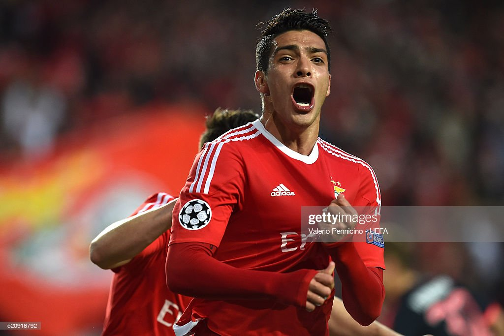 Raul Jimenez of SL Benfica celebrates after scoring the opening goal during the UEFA Champions League quarter final second leg match between SL...