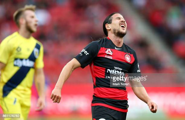 Raul Llorente of the Wanderers reacts after missing a shot at goal during the round two ALeague match between the Western Sydney Wanderers and the...
