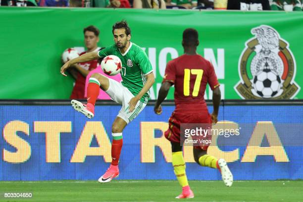 Raul Lopez of Mexico controls the ball during the friendly match between Mexico and Ghana at NRG Stadium on June 28 2017 in Houston Texas