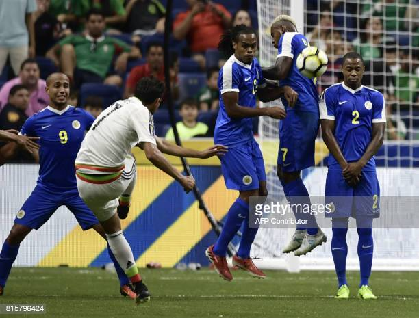 Raul Lopez of Mexico shoots against Curacao during their CONCACAF Gold Cup soccer match on July 16 2017 at the Alamodome in San Antonio Texas From...