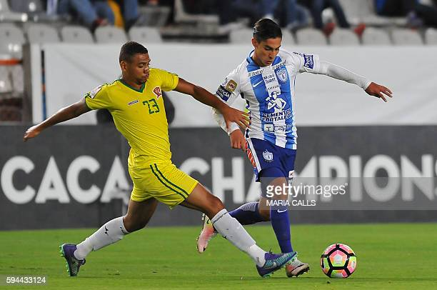 Raul Lopez of Mexico's Pachuca vies for the ball with Amilton Filho of Belize's Police United during their CONCACAF Champions League football match...