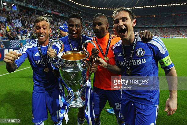 Raul Meireles John Obi Mikel Salomon Kalou and Frank Lampard of Chelsea celebrate with the trophy after their victoryn in UEFA Champions League Final...