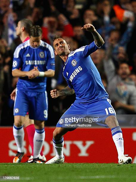 Raul Meireles of Chelsea celebrates scoring the opening goal during the UEFA Champions League Group E match between Chelsea and KRC Genk at Stamford...