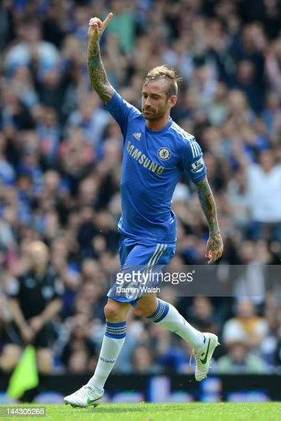 Raul Meireles of Chelsea celebrates scoring their second goal during the Barclays Premier League match between Chelsea and Blackburn Rovers at...