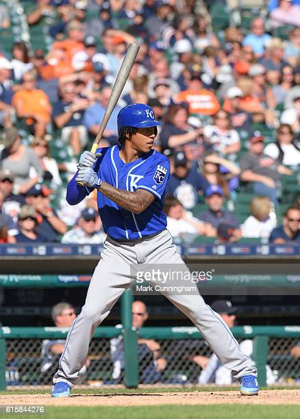 Raul Mondesi of the Kansas City Royals bats during the game against the Detroit Tigers at Comerica Park on September 24 2016 in Detroit Michigan The...