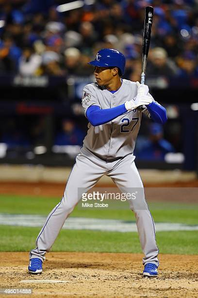 Raul Mondesi of the Kansas City Royals bats in the fifth inning against the New York Mets during Game Three of the 2015 World Series at Citi Field on...