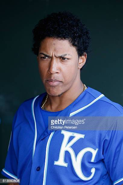 Raul Mondesi of the Kansas City Royals in the dugout during the cactus leauge spring training game against the Texas Rangers at Surprise Stadium on...