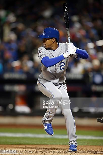 Raul Mondesi of the Kansas City Royals makes his major league debut against the New York Mets during Game 3 of the 2015 World Series at Citi Field on...