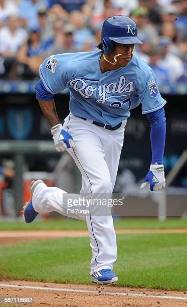 Raul Mondesi of the Kansas City Royals runs out a bunt in the second inning against the Toronto Blue Jays at Kauffman Stadium on August 7 2016 in...