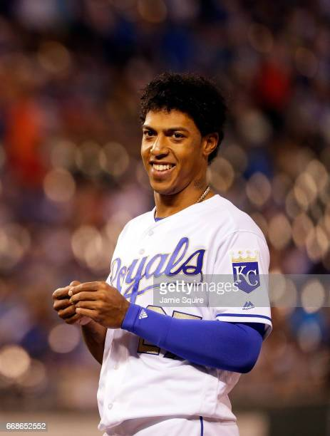 Raul Mondesi of the Kansas City Royals smiles during the game against the Los Angeles Angels at Kauffman Stadium on April 14 2017 in Kansas City...