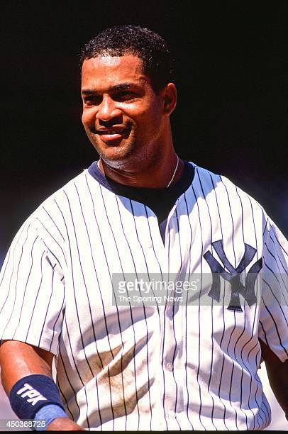 Raul Mondesi of the New York Yankees during the game against the Anaheim Angels at Yankee Stadium on August 21 2002 in the Bronx New York
