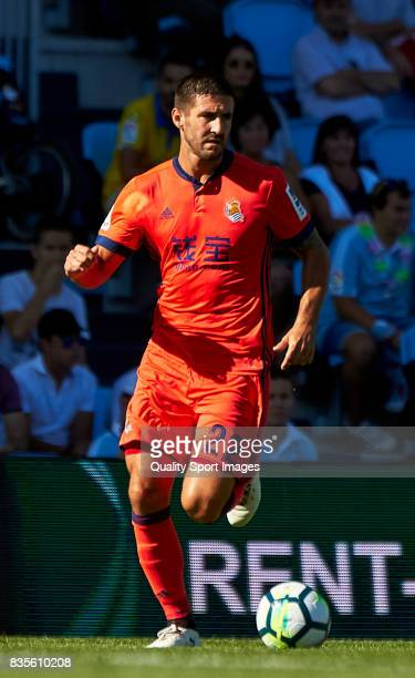 Raul Navas of Real Sociedad in action during the La Liga match between Celta de Vigo and Real Sociedad at Balaidos Stadium on August 19 2017 in Vigo...