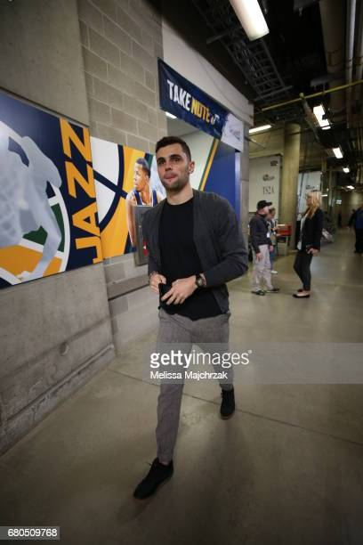 Raul Neto of the Utah Jazz arrives before the game against the Golden State Warriors in Game Four of the Western Conference Semifinals of the 2017...