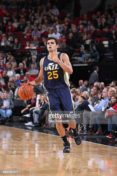 Raul Neto of the Utah Jazz brings the ball up court against the Portland Trail Blazers on October 18 2015 at the Moda Center in Portland Oregon NOTE...