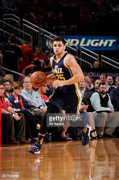 Raul Neto of the Utah Jazz brings the ball up court against the Houston Rockets on March 23 2016 at the Toyota Center in Houston Texas NOTE TO USER...