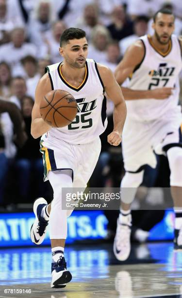 Raul Neto of the Utah Jazz brings the ball up court in the first half against the Los Angeles Clippers in Game Six of the Western Conference...