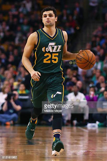 Raul Neto of the Utah Jazz carries the ball against the Boston Celtics during the third quarter at TD Garden on February 29 2016 in Boston...