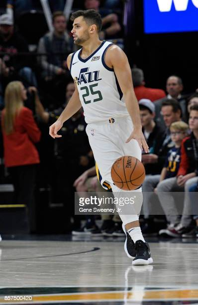 Raul Neto of the Utah Jazz controls the ball during their game against the Utah Jazz at Vivint Smart Home Arena on October 2 2017 in Salt Lake City...