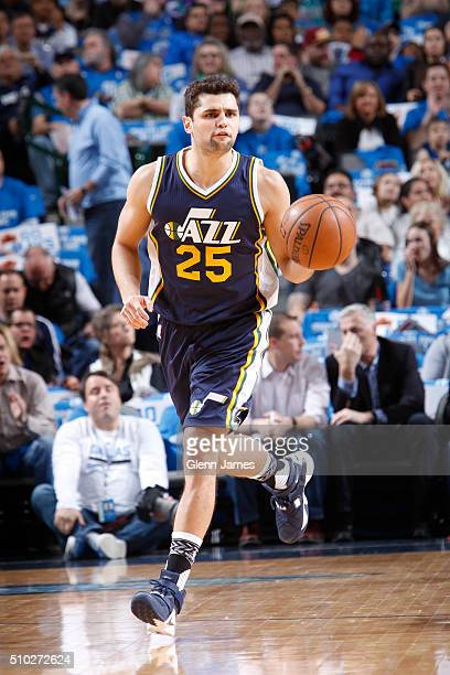 Raul Neto of the Utah Jazz dribbles the ball against the Dallas Mavericks on February 9 2016 at the American Airlines Center in Dallas Texas NOTE TO...