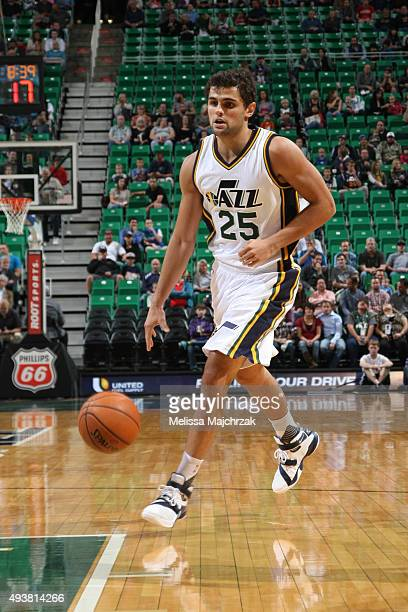 Raul Neto of the Utah Jazz dribbles the ball against the Denver Nuggets on October 22 2015 at EnergySolutions Arena in Salt Lake City Utah NOTE TO...