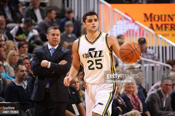 Raul Neto of the Utah Jazz dribbles the ball against the Memphis Grizzlies on November 7 2015 at Vivint Smart Home Arena in Salt Lake City Utah NOTE...