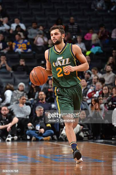 Raul Neto of the Utah Jazz dribbles up court against the Brooklyn Nets on January 22 2016 at Barclays Center in Brooklyn New York NOTE TO USER User...