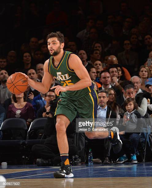 Raul Neto of the Utah Jazz dribbles up court against the New York Knicks at Madison Square Garden on January 20 2016 in New YorkNew York NOTE TO USER...
