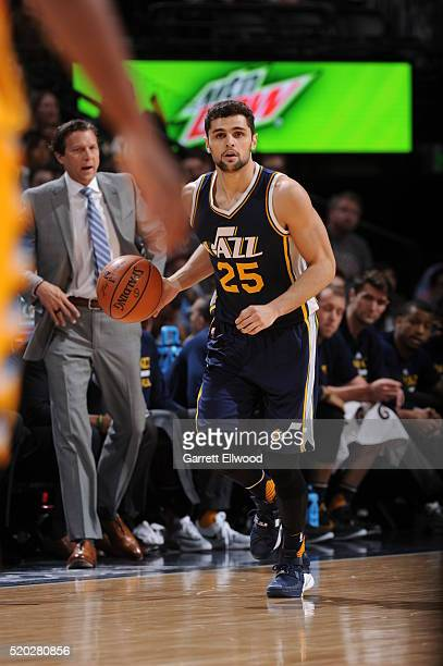 Raul Neto of the Utah Jazz drives to the basket against the Denver Nuggets during the game on April 10 2016 at Pepsi Center in Denver Colorado NOTE...
