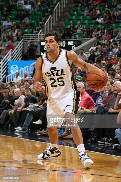 Raul Neto of the Utah Jazz drives to the basket against the Oklahoma City Thunder during the preseason game on October 20 2015 at EnergySolutions...