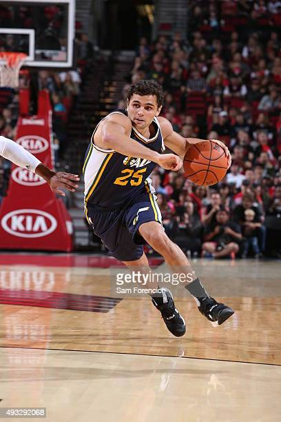 Raul Neto of the Utah Jazz drives to the basket against the Portland Trail Blazers on October 18 2015 at the Moda Center in Portland Oregon NOTE TO...