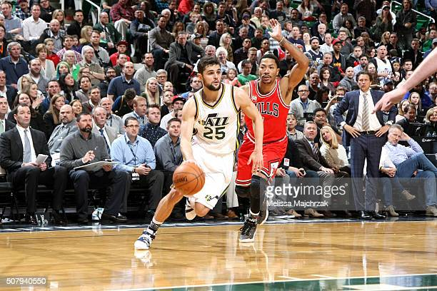 Raul Neto of the Utah Jazz drives to the basket during the game against the Chicago Bulls on February 1 2016 at EnergySolutions Arena in Salt Lake...