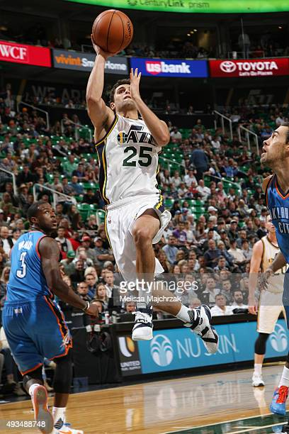 Raul Neto of the Utah Jazz goes for the layup against the Oklahoma City Thunder during the preseason game on October 20 2015 at EnergySolutions Arena...