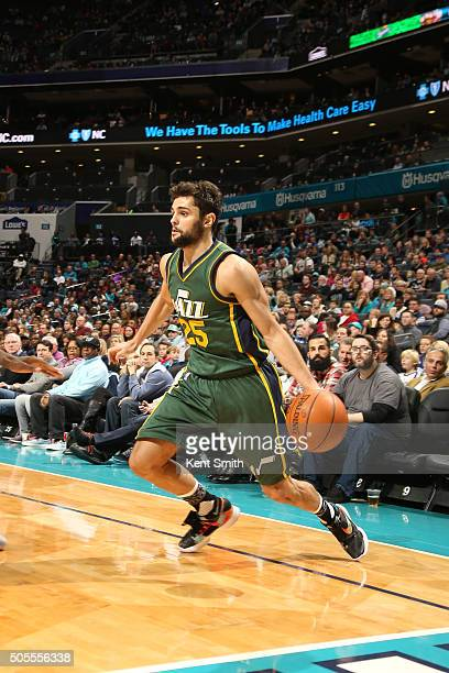 Raul Neto of the Utah Jazz handles the ball against the Charlotte Hornets on January 18 2016 at Time Warner Cable Arena in Charlotte North Carolina...