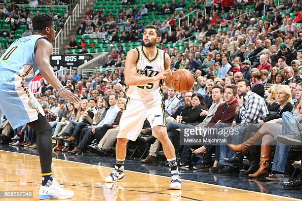 Raul Neto of the Utah Jazz handles the ball against the Denver Nuggets on February 3 2016 at vivintSmartHome Arena in Salt Lake City Utah NOTE TO...