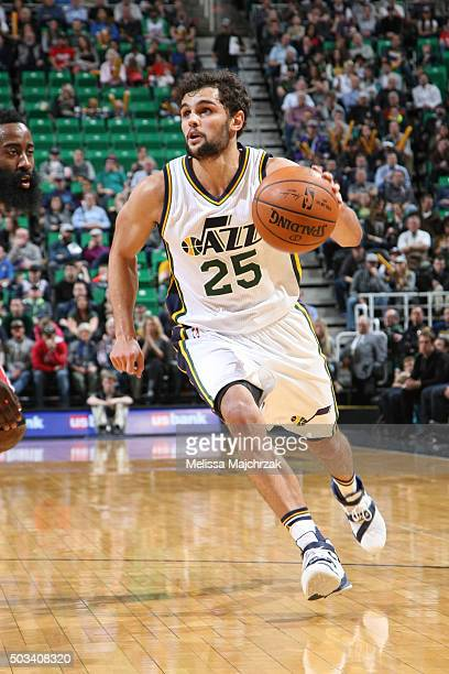 Raul Neto of the Utah Jazz handles the ball against the Houston Rockets on January 4 2016 at vivintSmartHome Arena in Salt Lake City Utah NOTE TO...