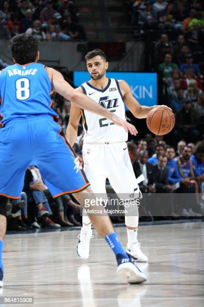 Raul Neto of the Utah Jazz handles the ball against the Oklahoma City Thunder on October 21 2017 at vivintSmartHome Arena in Salt Lake City Utah NOTE...