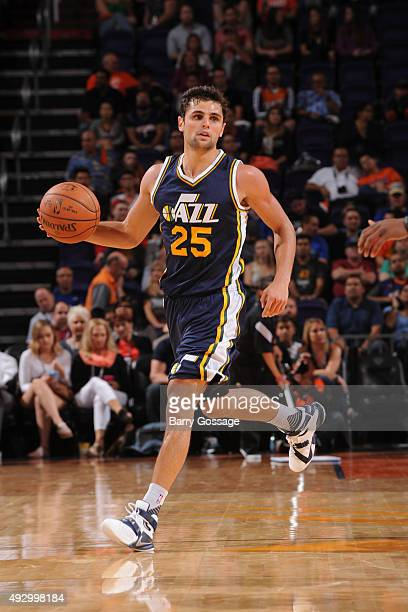 Raul Neto of the Utah Jazz handles the ball against the Phoenix Suns during a preseason game on October 9 at Talking Stick Resort Arena in Phoenix...