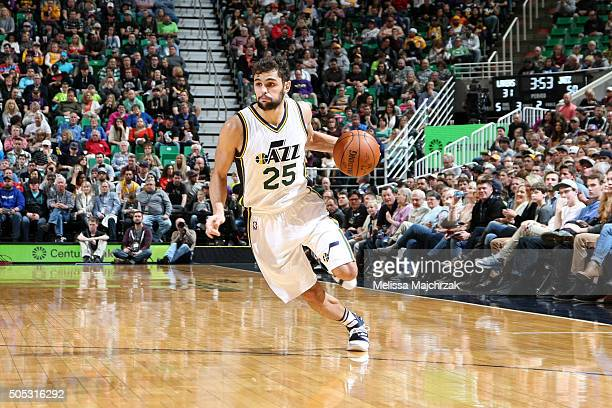 Raul Neto of the Utah Jazz handles the ball during the game against the Los Angeles Lakers on January 16 2016 at EnergySolutions Arena in Salt Lake...