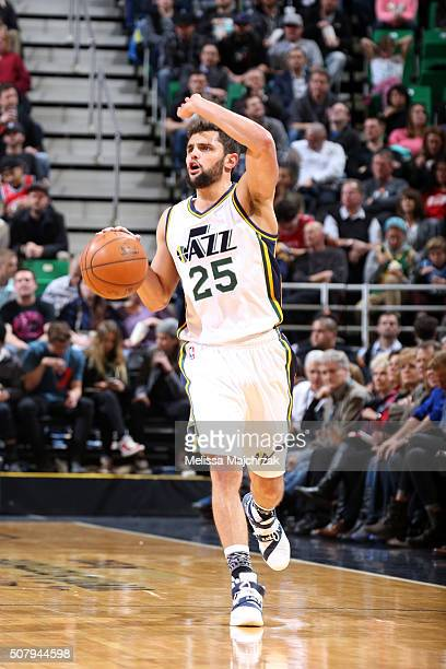 Raul Neto of the Utah Jazz handles the ball during the game against the Chicago Bulls on February 1 2016 at EnergySolutions Arena in Salt Lake City...