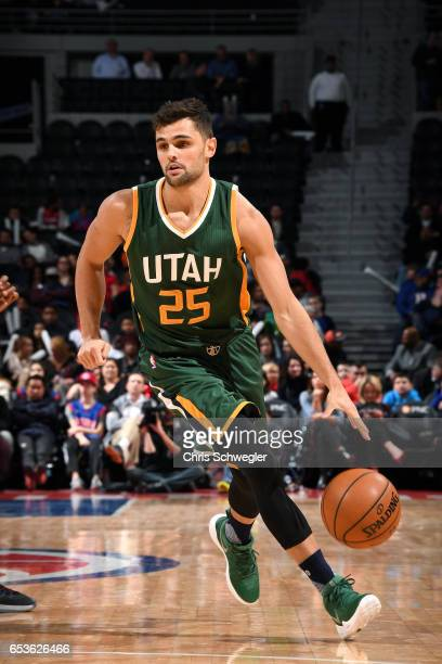 Raul Neto of the Utah Jazz handles the ball during the game against the Detroit Pistons on March 15 2017 at The Palace of Auburn Hills in Auburn...