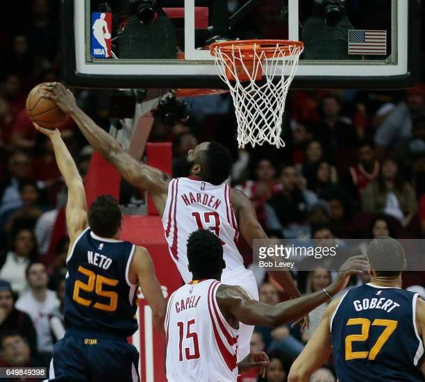 Raul Neto of the Utah Jazz has his shot blocked by James Harden of the Houston Rockets at Toyota Center on March 8 2017 in Houston Texas NOTE TO USER...
