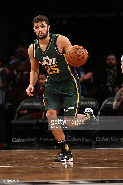 Raul Neto of the Utah Jazz in action against the Brooklyn Nets at the Barclays Center on January 22 2016 in Brooklyn borough of New York City Jazz...