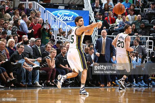 Raul Neto of the Utah Jazz passes the ball against the Denver Nuggets on December 18 2015 at Vivint Smart Home Arena in Salt Lake City Utah NOTE TO...