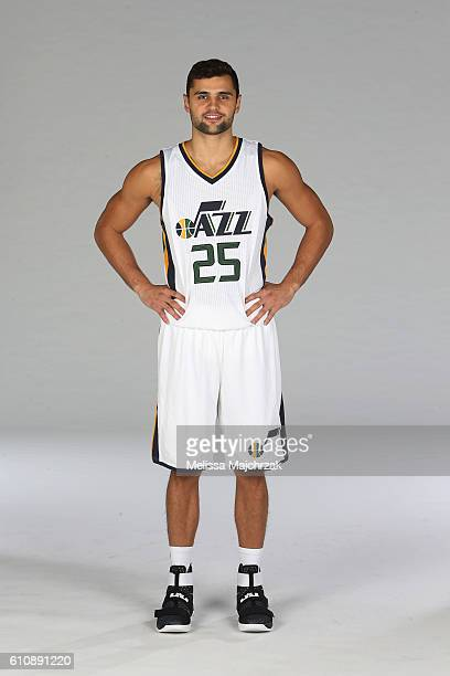 Raul Neto of the Utah Jazz poses for a photo during the 20162017 Utah Jazz media day at Zions Bank Basketball Center on September 26 2016 in Salt...
