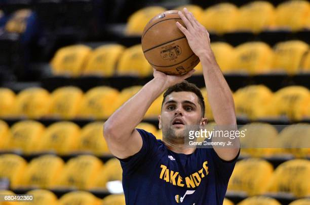 Raul Neto of the Utah Jazz practices prior to their game against the Golden State Warriors in Game Four of the Western Conference Semifinals during...