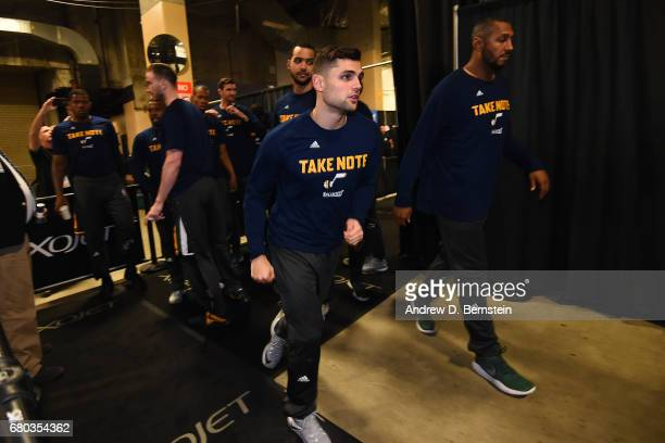 Raul Neto of the Utah Jazz runs through the hallway before Game Two the Western Conference Semifinals against the Golden State Warriors during the...