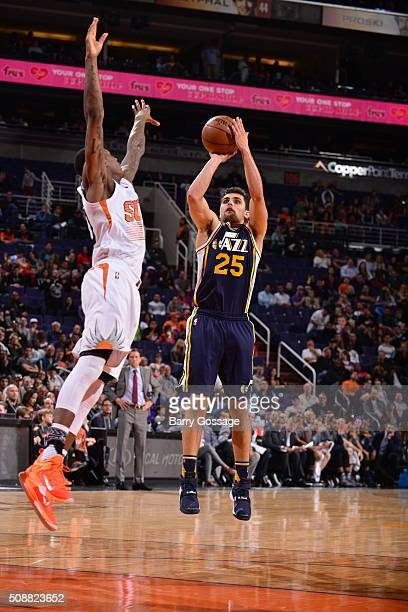 Raul Neto of the Utah Jazz shoots against the Phoenix Suns on February 6 2016 at Talking Stick Resort Arena in Phoenix Arizona NOTE TO USER User...